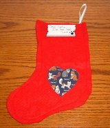 FREE New red felt cat kitten heart christmas x-mas stocking with wooden placket in Oswego, Illinois