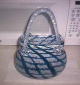 OLD HAND-BLOWN COBALT BLUE ART GLASS PURSE in Camp Lejeune, North Carolina