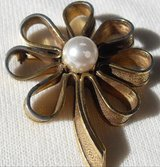 Vintage Signed Brooch Flower with Pearl Center in Kingwood, Texas