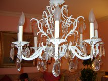 vintage 8 lite shabby chic chandelier with prisms in Naperville, Illinois