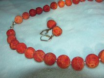 red coral necklace + earrings in Spangdahlem, Germany